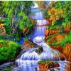 Colorful Forest Waterfall