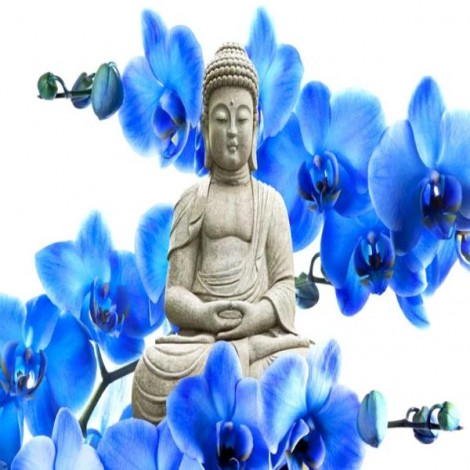 Buddha With Blue Orchids