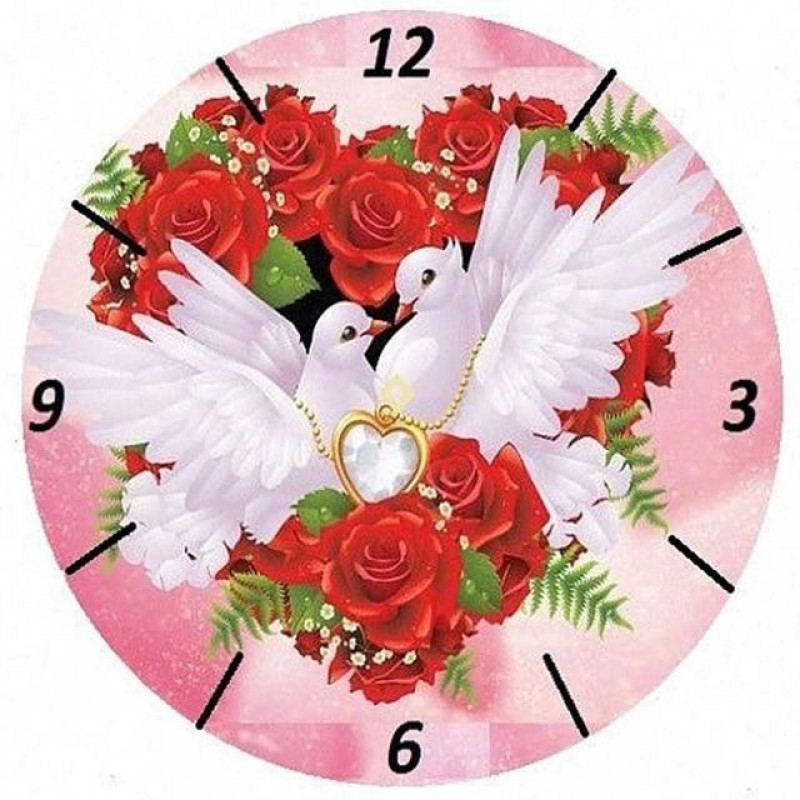 Love Doves Clock Fac...